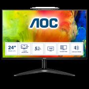 Монитор жидкокристаллический AOC Монитор LCD 23.6'' [16:9] 1920х1080(FHD) MVA, nonGLARE, 250cd/m2, H178°/V178°, 3000:1, 20М:1, 16.7M, 5ms, VGA, HDMI, Tilt, 3Y, Black