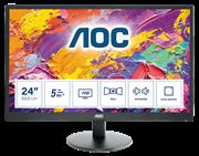 Монитор жидкокристаллический AOC Монитор LCD 23,6'' [16:9] 1920х1080 MVA, nonGLARE, 250cd/m2, H178°/V178°, 3000:1, 50М:1, 5ms, VGA, HDMI x2, Tilt, Speakers, Audio out, 3Y, Black