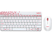 Комплект Logitech MK240 White (белый с красным рисунком)